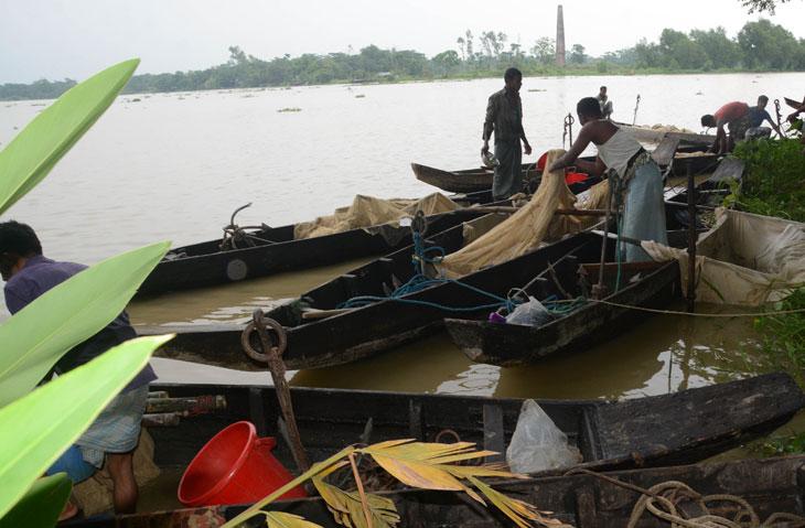 দেশের একমাত্র প্রকৃতিক মৎস প্রজনন কেন্দ্র হালদা নদীতে ডিম ছেড়েছে মাছ। মাছের রেনু সংগ্রহ করছেন মাছ চাষীরা। ছবি: এস এম তামান্না
